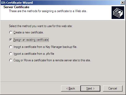IIS Certificate Wizard, Assign an existing certificate