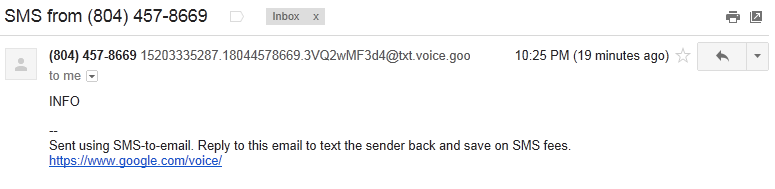 SMS message delivered to Gmail