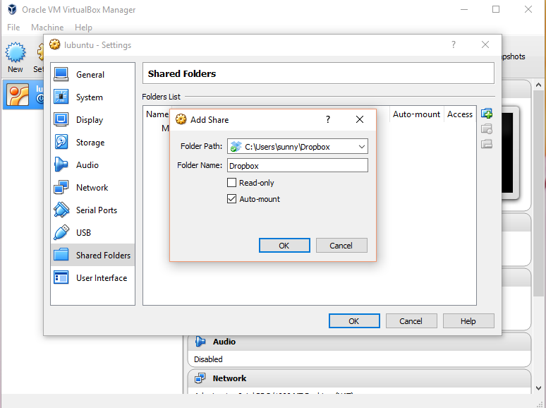 VirtualBox: add shared folder