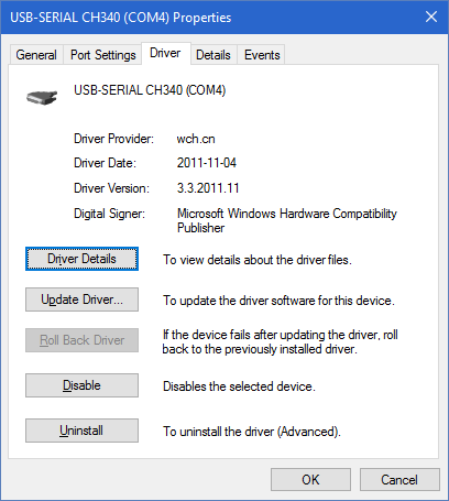 Windows 10 built-in CH340 driver