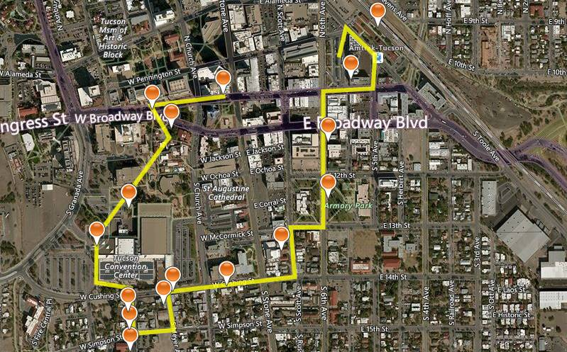 route of first Downtown History Walk