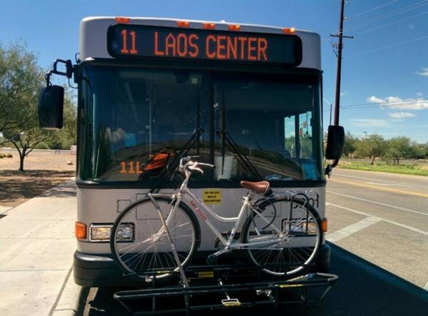 load a bike on Sun Tran bus bike rack, Aug 23, 2014