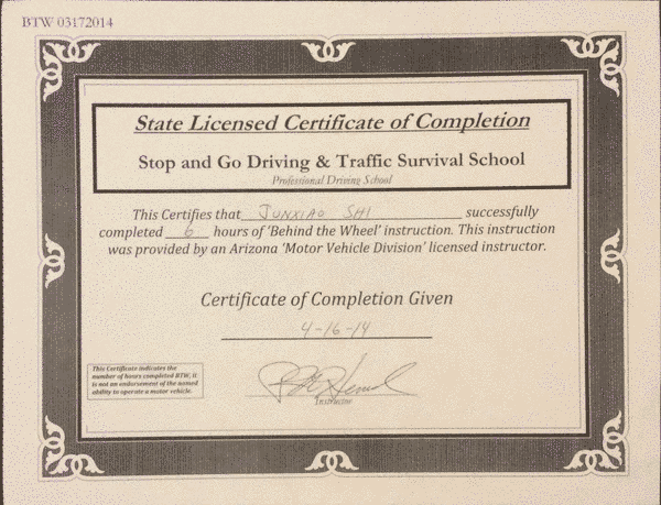 Certificate of Completion from Stop and Go Driving School