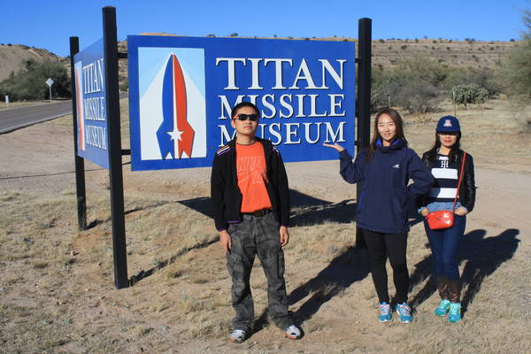 group photo in front of Titan Missile Museum sign