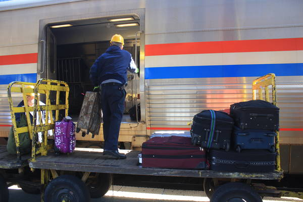 my checked bag being unloaded at Washington Union Station
