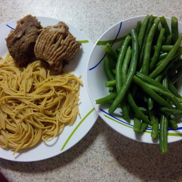 pasta, turkey, and green beans