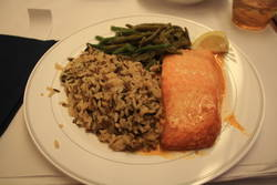 seared salmon with wild rice pilaf