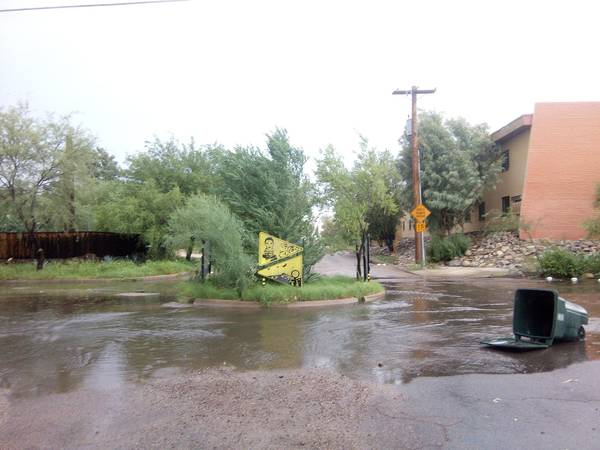 trashcan washed away, Dunbar Spring Neighborhood, Aug 10, 2017