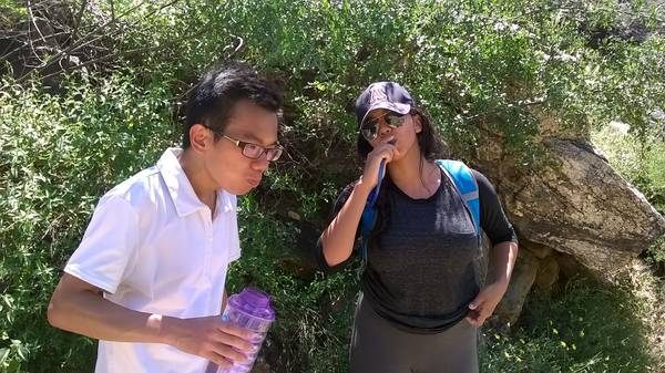 get hydrated on the hike to Seven Falls, 27AUG2017