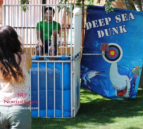 me in a dunk tank, courtesy of NorthPointe Apartments