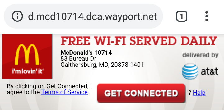 attwifi captive portal in McDonald's