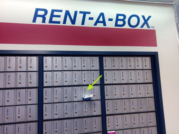 a wall of PO Boxes, highlighting PO Box 3943