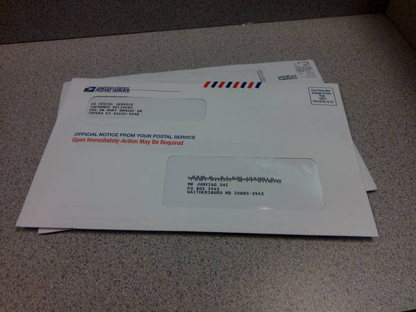 a letter from USPS