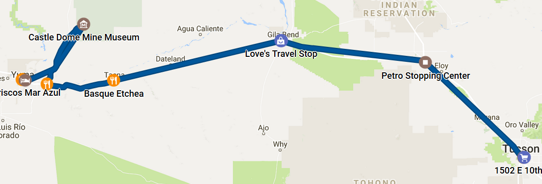 Feb 11 timeline as recorded by Google Maps