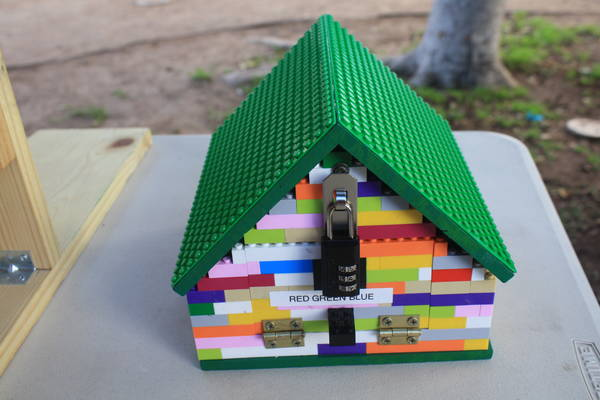 a gadget cache made from LEGO bricks