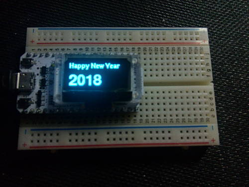 """Happy New Year 2018"" on Heltec WiFi\_Kit\_32 OLED display"