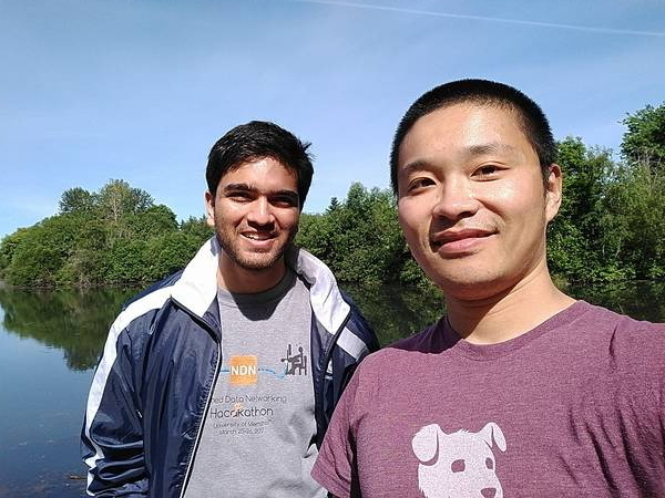 Junxiao and Ashlesh at Commonwealth Lake Park in Portland