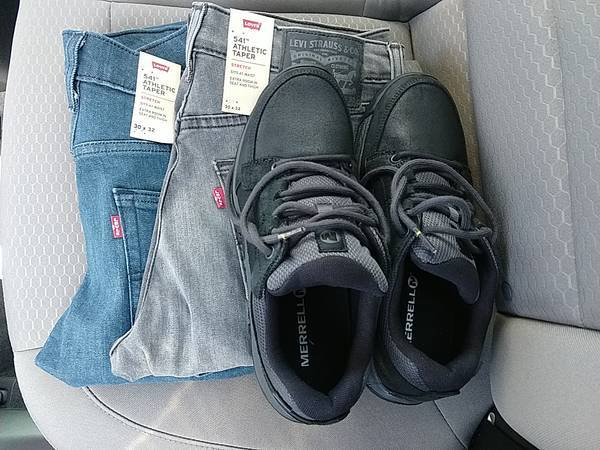Merrell hiking shoes and two pairs of Levi 541 jeans