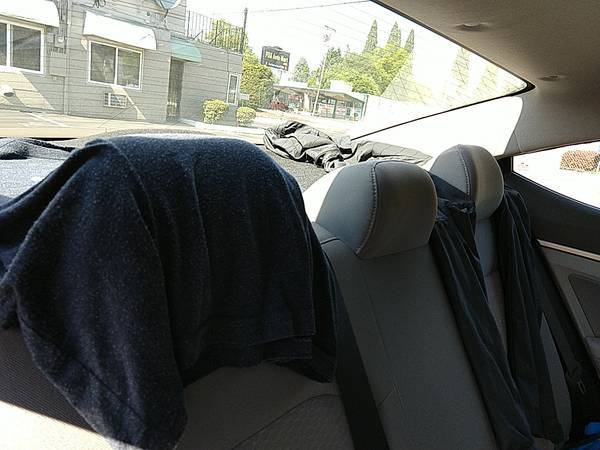 clothes hanging under rear window of a car