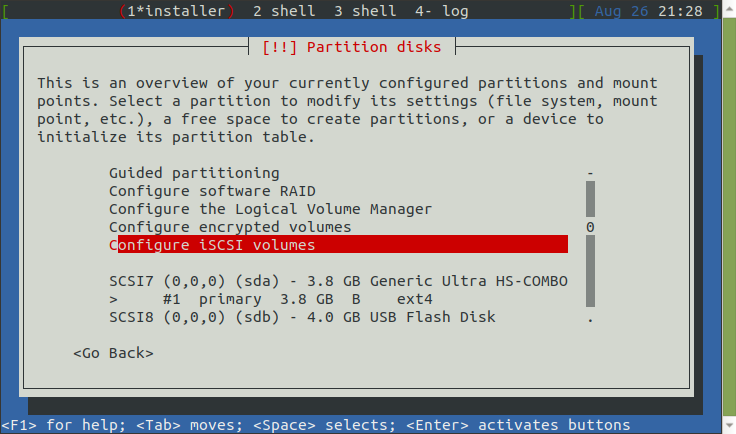 Partition disks, Configure iSCSI volumes